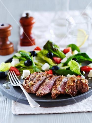Tray of Greek lamb salad