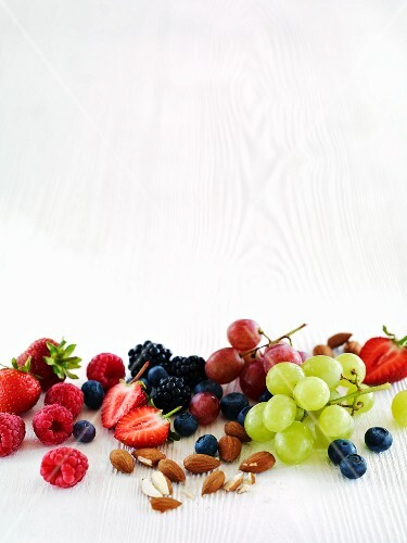 Fresh grapes, berries and almonds