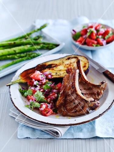 Lamb chops with tomato salad