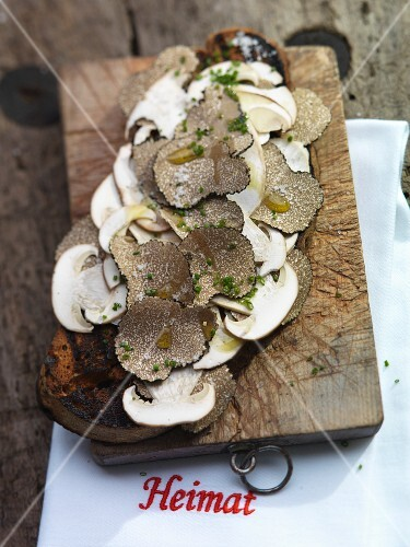 A slice of grilled country bread topped with truffles and mushrooms