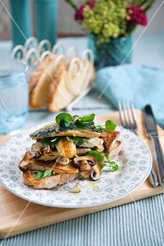 A slice of bread topped with mackerel and mushrooms