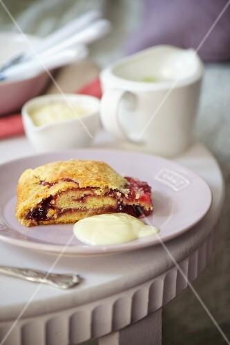 Sponge roll with jam and cream