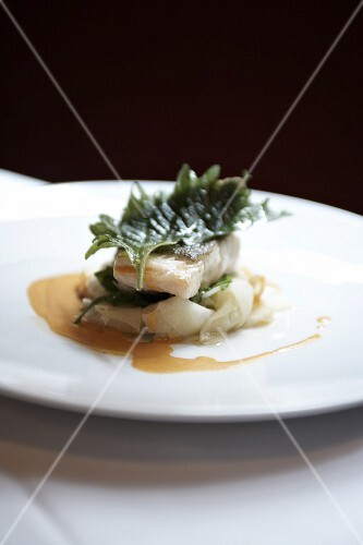 Steamed John Dory with shiso leaves