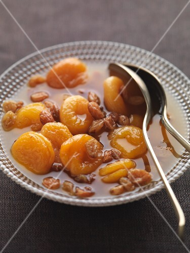 Dried apricot compote with raisins