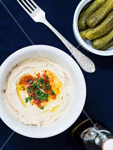 Hummus and gherkins