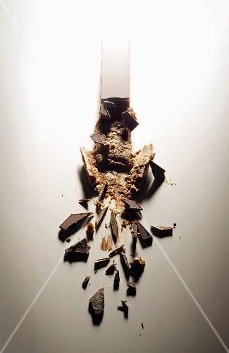 A broken chocolate cake (Opera Cake)