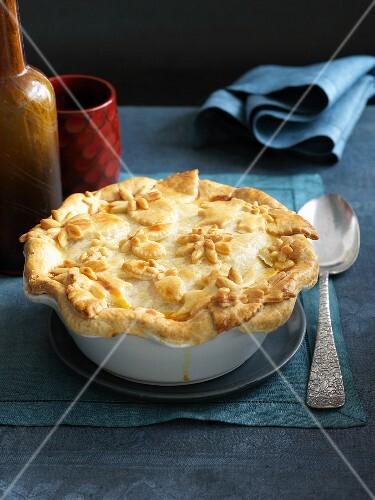 Individual Chicken Pot Pie; Spoon Lifting Bite