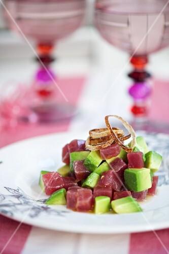 Marinated tuna fish with avocado
