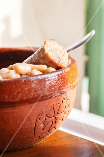 Cassoulet in a ceramic bowl