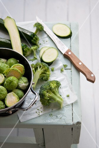 Fresh Brussels sprouts, broccoli and courgettes