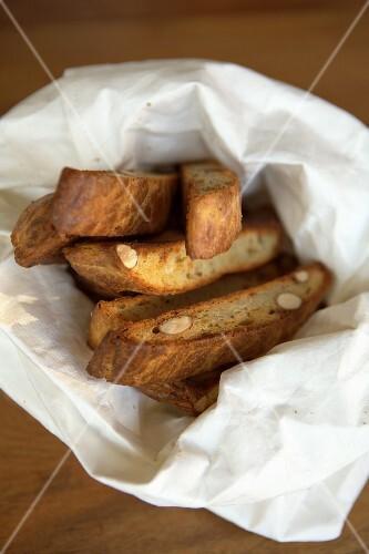 Italian pastries, Cantuccini, in fabric bag