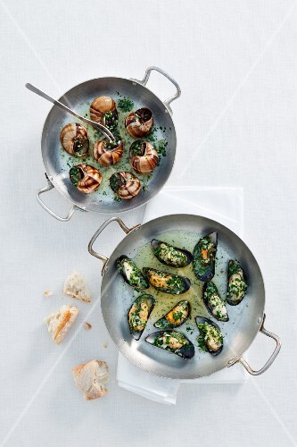 Vineyard snails and mussels with herb butter