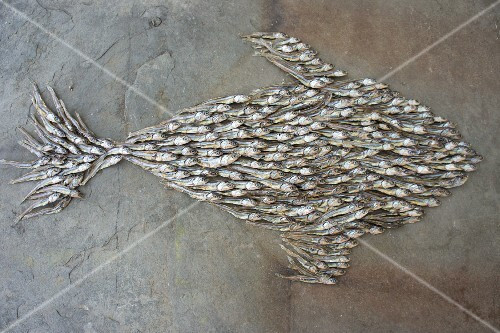 A fish shape of dried fish
