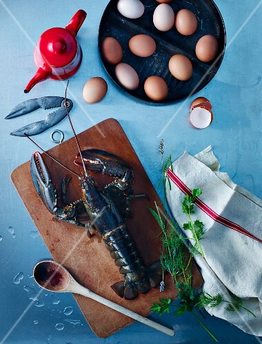 Lobster, eggs and herbs