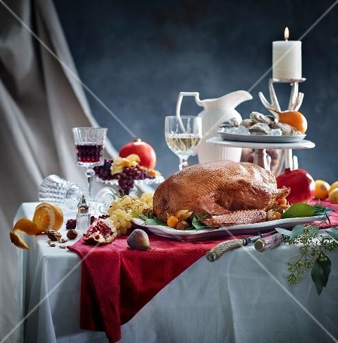 Roast goose on a Christmas table