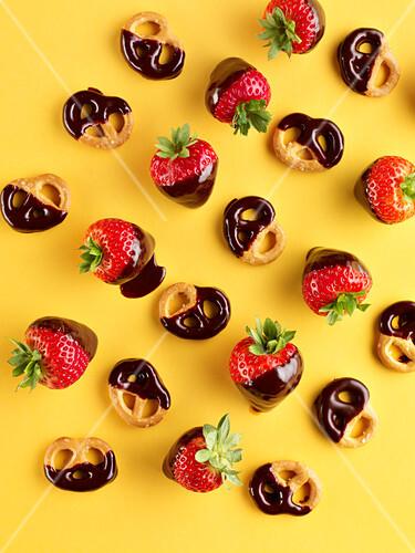 Chocolate strawberries and chocolate pretzels