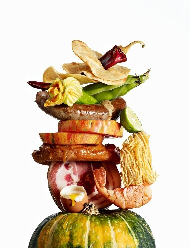 A tower of various food and dishes