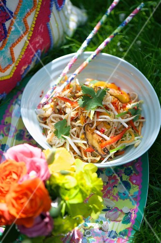 Oriental bean sprout salad with peppers and shiitake mushrooms for a summer party