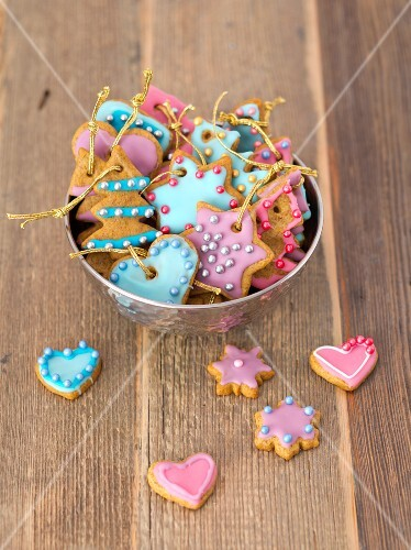 Gingerbread decorated with colourful icing and sugar pearls as Christmas tree decorations