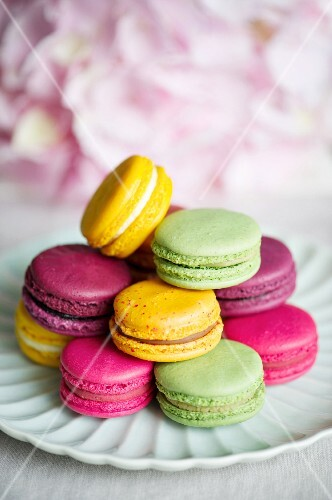 A plate of colourful macaroons