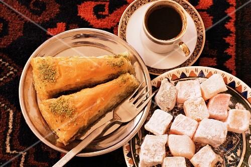 Typical Turkish desserts: baklava, loukoumi (Turkish delight) and Turkish coffee