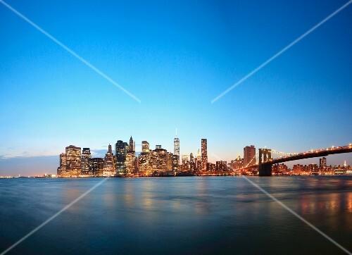 The skyline of Manhattan with the Brooklyn Bridge (New York, USA)