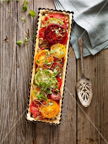 Heirloom tomato tart on a wooden table