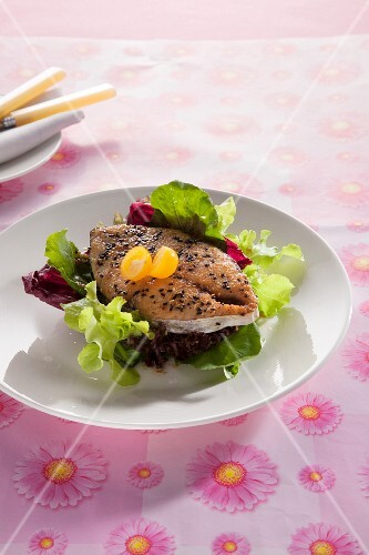 Grilled king mackerel steak with sesame seeds and salad (Thailand)