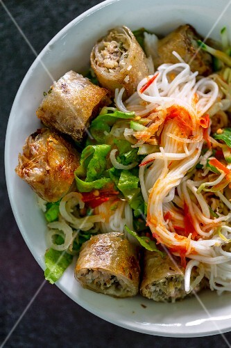 A bowl of rice noodles and spring rolls (Vientiane, Laos)