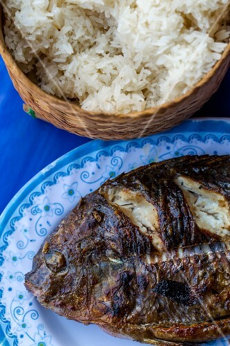 Grilled fish and sticky rice (Vientiane, Laos)
