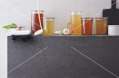 Various stocks in jars