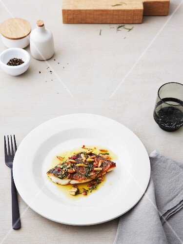 Sea bass with pine nut and sage butter