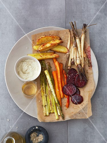 Oven-roasted vegetables with anchovy and caper mayonnaise
