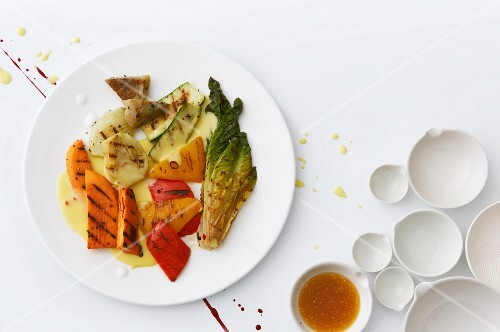 Sauce Milanese and grilled vegetables