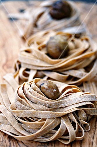 Homemade chestnut pasta