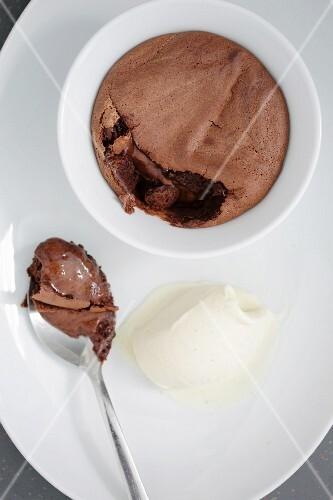 Chocolate souffle with vanilla ice cream
