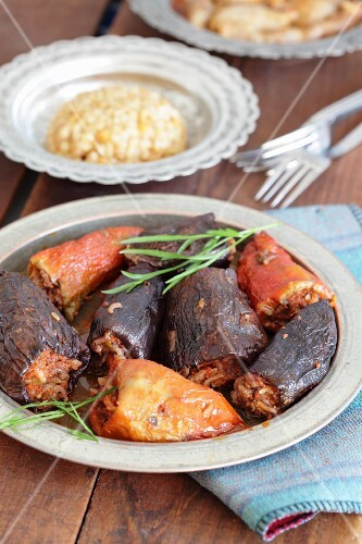 Stuffed peppers and aubergines with pilau (Turkey)