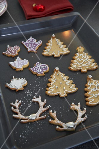 Shortbread Christmas biscuits on a baking tray