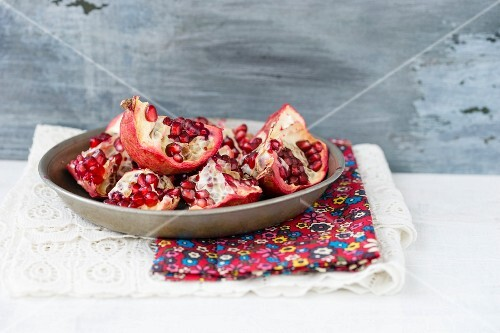 Pieces of pomegranate on a plate