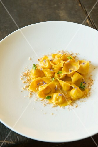 Tortellini with Parmesan, lavender, nutmeg and almonds in Restaurant Marconi in Bologna