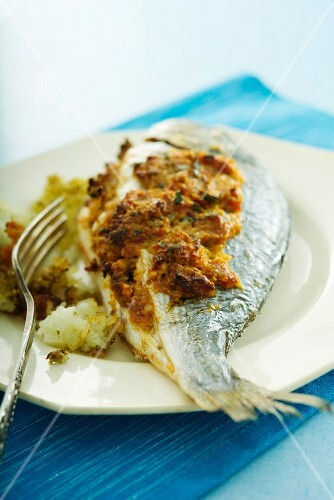 Oven-roasted seabream with a Mediterranean crust