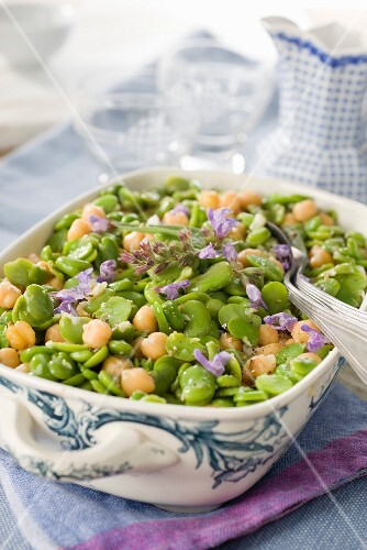 Fava bean and chickpea salad with edible flowers and sage