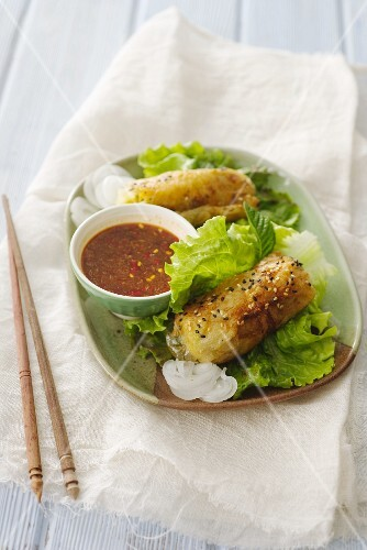 Spring rolls with curry