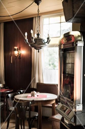 An interior view of the traditional pub 'Schweizer Haus' in Hamburg