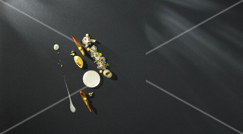 Octopus with coffee broth, passion fruit variations, longans and mini squash (flavour pairing)