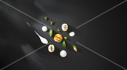 Banana flavoured smoked eel with a creamy clue cheese sauce, egg yolk with mustard seeds and water cress puree (flavour pairing)