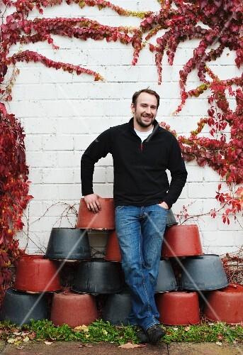 Winegrower Stefan Meyer at his vineyard in Rhodt (Rhineland Palatinate)