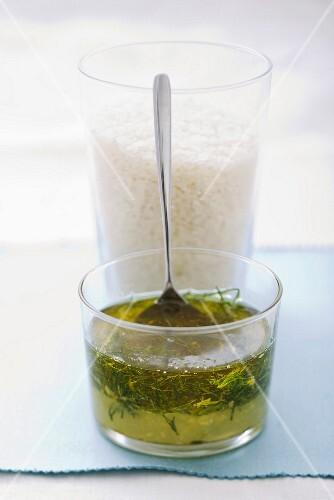 Lemon oil and fennel leaves