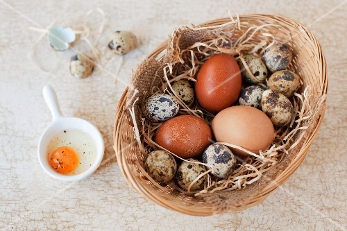 A basket of quail and hen eggs with a cracked open quail's egg next to it