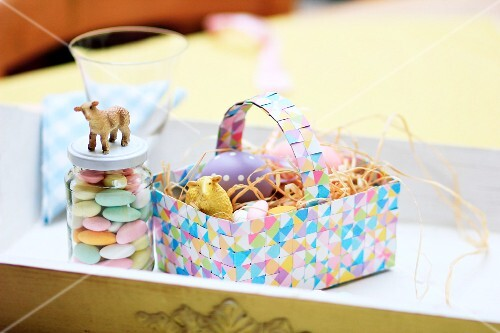 Hand-crafted, colourful, woven Easter basket